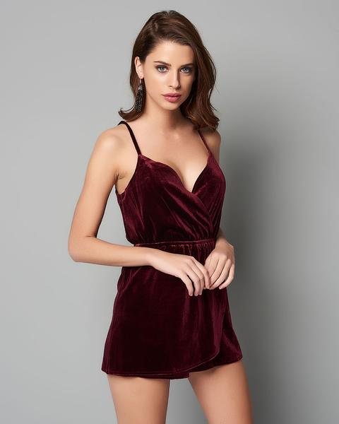 9e863a727c Wine Wrap Front Velvet Playsuit by Parisian – Optimum Outfit