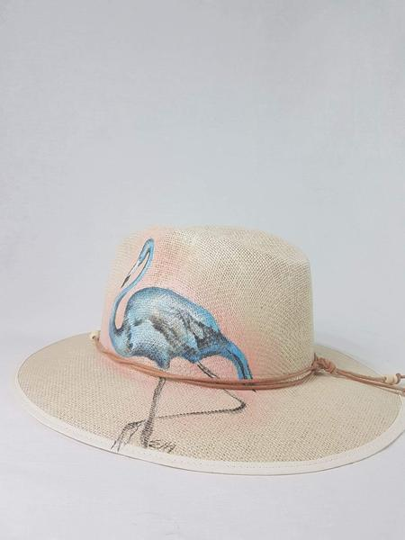 OPTIMUM OUTFIT Ivoire hat straw with painted flamingo