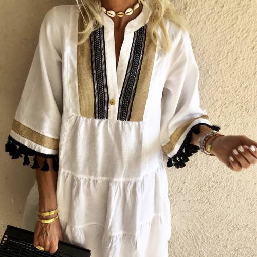 NEJMA White Kaftan Dress