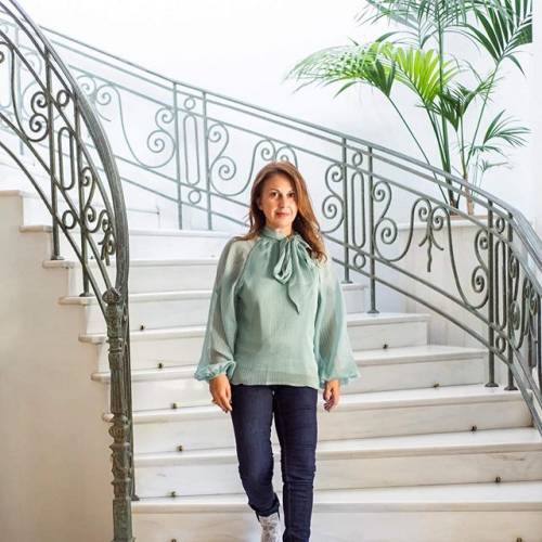 VILA Pallea Oil Blue Long Sleeve Top